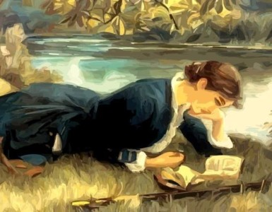 country lady reading book